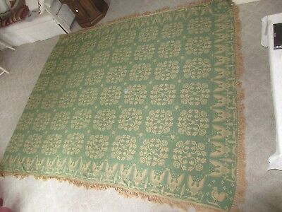 Antique Large Hand Woven Fringed Roses Eagles Chickens Jacquard Coverlet Quilt
