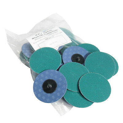 """25Pc 3"""" 80 Grit Green Zirconia Roloc Type Roll On Lock Sanding Disc Made in USA"""