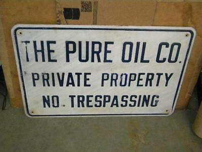 Old Pure Motor Oil Company Fully Embossed Steel Road Highway Field Sign Blue/Wh