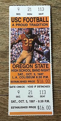 1987 Oregon St. At Usc College Football Full Ticket