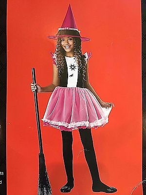 NWT Girls Pink Ballerina Witch Costume Medium Size 8-10