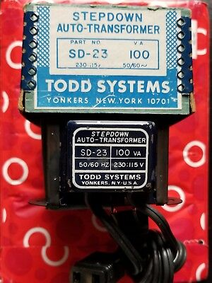 NEW-TODD SYSTEMS SD-23 STEPDOWN AUTO-TRANSFORMER (100 VA) 50/60 Hz 230 TO 115 V.
