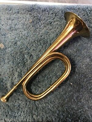 Army Navy Authentic Bugle Used Calvary Brass Gold