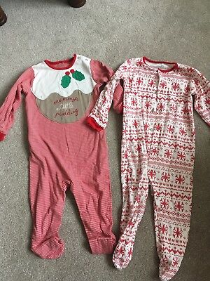 Next Xmas Christmas Sleepsuits 18-24 Months