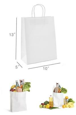 """50 Pcs Retail Shopping Craft Gift Bags White Paper With Handles 10 x 5 x 13"""" Kit"""