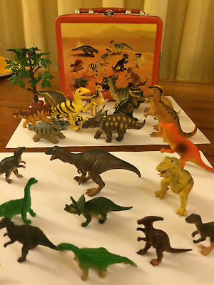 21 Plastic Dinosaurs in Original Carry Case Lunch Box Contains Dinosaurs Shown