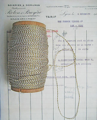 """10 yds Vintage Antique French Metallic Gold/White Cord Rope Bakery Twine 1/16"""""""