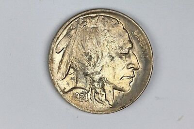 1924-S Buffalo Nickel 5C AU About Unc Coin Scratched Rev KEY DATE! RARE! 5A6