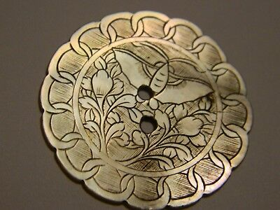 Large Vintage/Antique Mother of pearl MOP Button Scrollwork 33mm  -Lot #2437