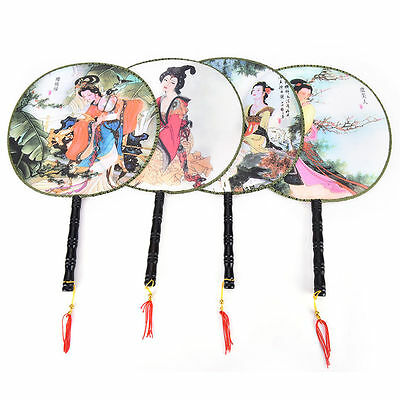 Chinese Style Round Hand Fan Elegant Pattern Polyester Home Gift Decor Random h*