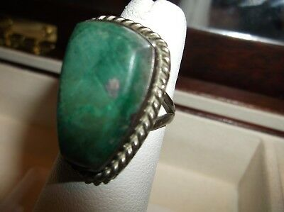 Turquois & Sterling Silver Ring Sz 7 - Signed Mexico 925