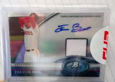 Topps 2011 Bowman Platinum Trevor Bell relic auto (LOS ANGELES ANGELS)