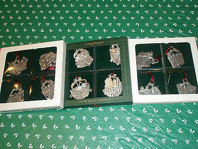 Longaberger Basket Xmas Christmas Pewter 12 Ornaments Nib
