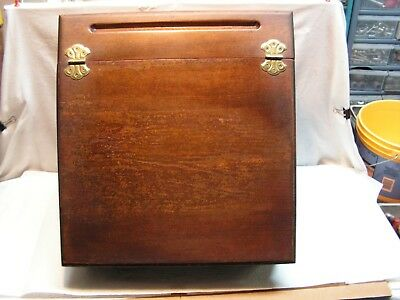 Vintage Wood Slant Top Writing Lap Desk/Podium-Topper Campaign Box Med. Stain