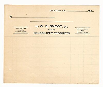 Delco - Light Products Invoice Culpepper Virginia Va  W. B. Smoot Dealer Lights