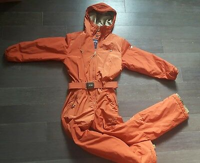 Post Card One Piece Ski Suit Orange/Gold Size 6 Womens Warm Made in Italy