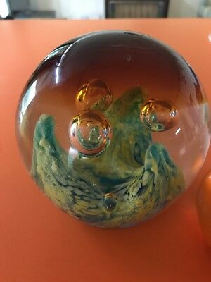 Vintage heavy art glass Unusual Wave Like Design, paperweight
