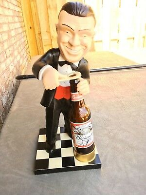Budweiser Smiling Charlie figurine with Race Car Driver autographs