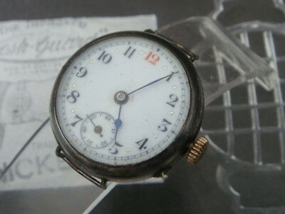 WW1 1915 Swiss silver military trench watch maker nice working project parts vgc