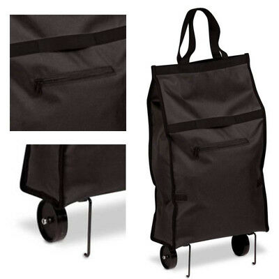 Foldable Collapsible Shopping Grocery Cart Folding Travel Rolling Wheels Black