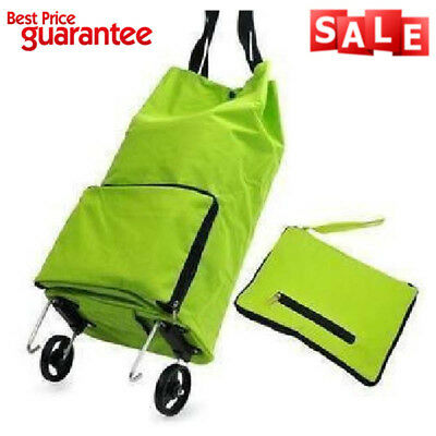 Collapsible Foldable Shopping Grocery Cart Folding Travel Rolling Wheels Green