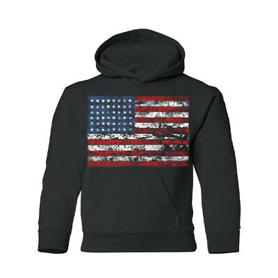 Vintage American Flag USA YOUTH Hoodie 4th Of July Sweatshirt