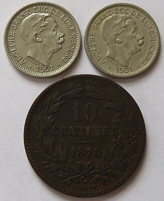 Luxembourg 1870 10 Centimes - XF + Two 1901 10 Cents - AU, Vintage coins(141906B