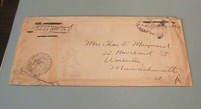 1918 US Army Lieutenant AEF Censored Letter APO 798 Medical Supply Packers List