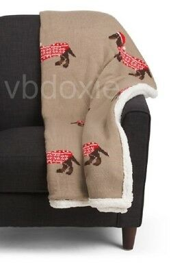 Festive Winter Dachshund Knit Christmas Holiday Throw Blanket