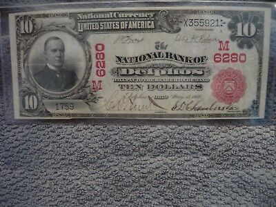 """NOT CERTIFIED 1902 $10 RED SEAL  Delphos Ohio  EXTREMELY RARE!   """"0"""" on Census!"""