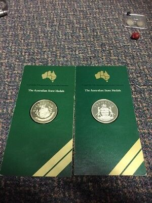 Lot Of 2 Australian State Medals Both Sterling Silver