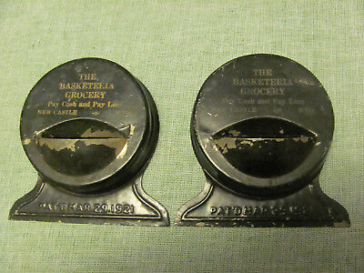 2 Vintage The Basketeria Grocery Tin Litho Advertising Can Or Bottle Opener.