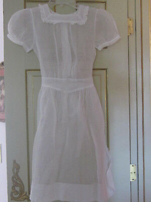 1950's Vintage Girls Hand Made Organdy Dress With French Lace About 10-12 Size