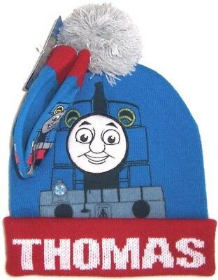 Thomas & Friends Toddler Boys 2 Pc Knit Ha & t Mitten Set NWT One Size  Blue Red