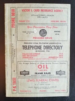 1949 Washington state telephone directory, Poulsbo, Seattle, vintage phone book