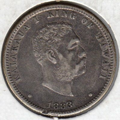 1883 Hawaii, 25 Cents Silver Coin, #15
