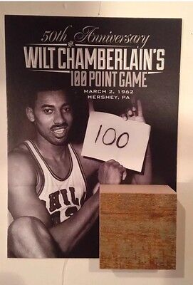 WILT CHAMBERLAIN Piece of Court Floor LA Lakers Philly 76ers Warriors SGA 100