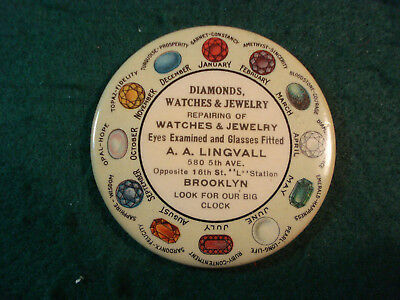 Celluloid Advertising Pocket Mirror A. A. Lingval Diamonds Watches & Jewelry