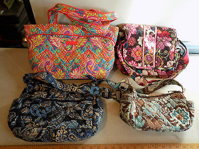 Lot Of 4 Vera Bradley Handbag Purses Java Blue Hobo Cross Body Shoulder Day Bag