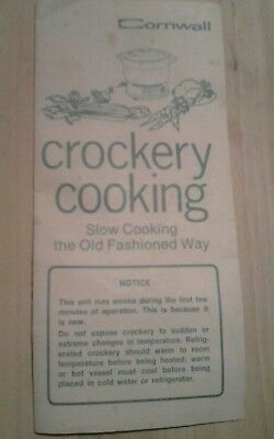 Vintage Cornwall Crockery Cooker Recipe Cook Book * 45 Year Old Cook Book