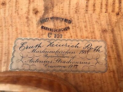 Topless 1935 E.R Roth Violin for repair---International Shipping Available