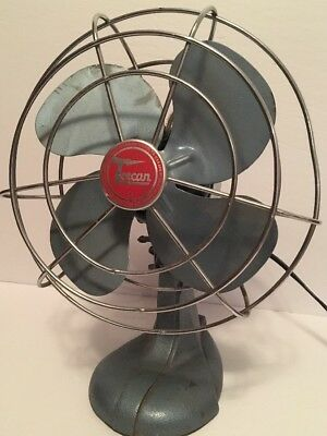 "Vintage Blue 9"" TORCAN Metal Fan 836-MD 115 Volts Works Great!"
