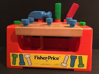 Vintage 1980 Fisher Price Toy Work Bench & Tools #927 USA