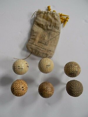 LOT OF VINTAGE 1930's GOLF BALLS & TEES - RARE PRACTICE BALL - RITE-HITE TEES