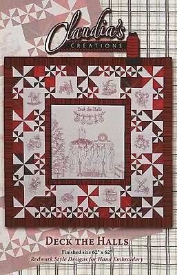 DECK THE HALL HAND EMBROIDERY PATTERN CD, From Claudia's Creations NEW