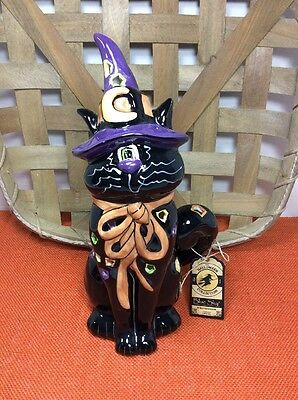 New 2010 Blue Sky Clayworks Heather Goldminc Halloween Witch Cat Tealight Holder