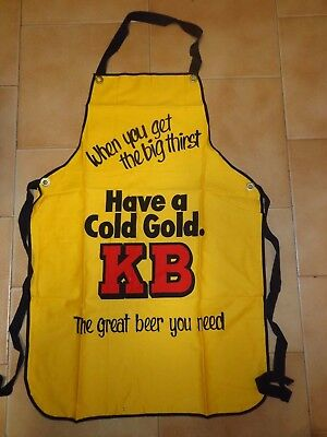 RETRO ORIGINAL 1980s TOOTH'S COLD GOLD K.B. BEER APRON - NEW NEVER USED
