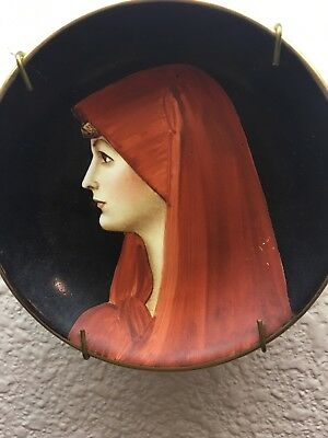 Antique Plate Hand Painted Richard Ginori Fabiola Portrait Small Porcelain Italy