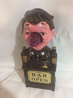 "VINTAGE 1950's ""THE BAR IS OPEN"" CERAMIC ADVERTISING  BARTENDER LIGHT UP NOSE"