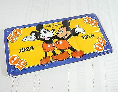 1928 - 1978 MICKEY MOUSE 50 years Paint Box VINTAGE WATER COLOR Non Toxic Disney